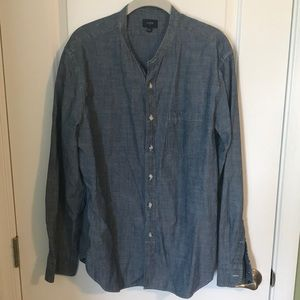 J. Crew Chambray shirt collarless Large